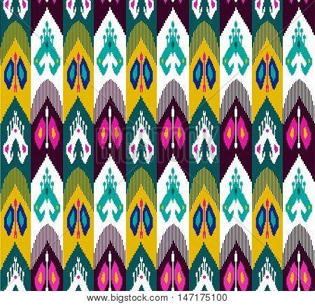 Ethnic seamless pattern with folk print. Stylized Uzbek silk textile