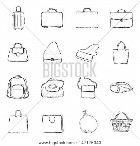 Vector Set Of Sketch Bags Icons