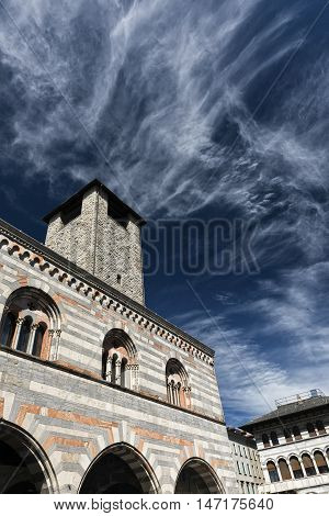 Como (Lombardy Italy): exterior of Broletto historic palace with tower built in 13th century