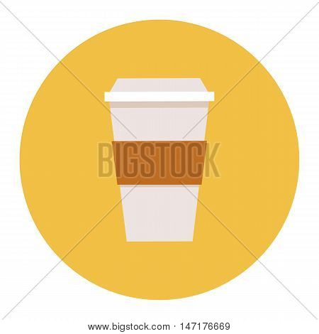 Paper disposable coffee cup icon. Vector illustration flat design