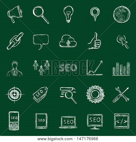 Vector Set Of Chalk Seo Icons