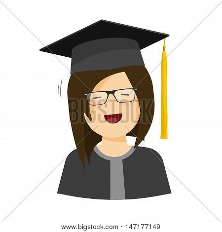 Happy student girl vector illustration, flat cartoon female character in graduation hat and robe smiling, young student woman in graduation gown