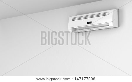 Modern air conditioner on white wall, 3D illustration