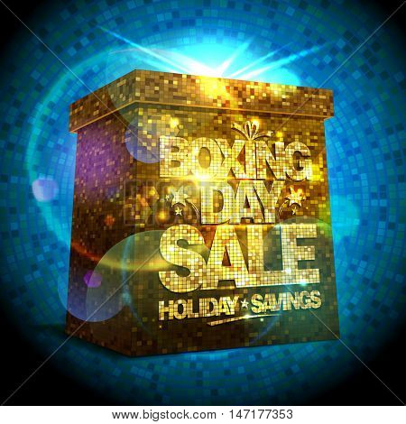 Boxing day sale design with shiny golden gift box