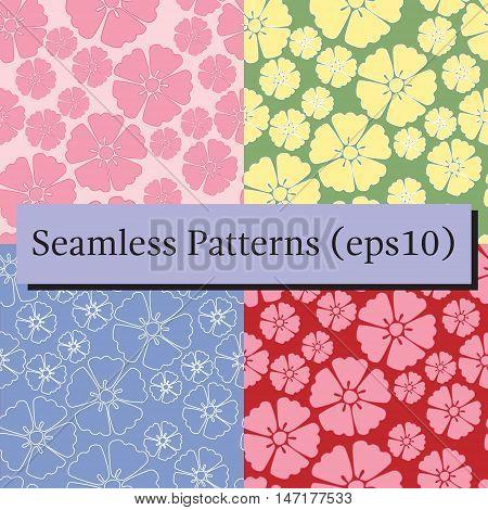 Elegant flower of sakura cherry blossom seamless pattern backgrounds set. For textile, cover, package.
