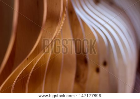 Abstract background. Curved wooden structure / splines