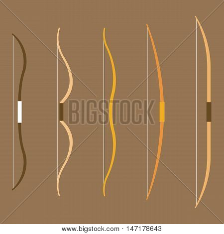 type of bow archery collection illustration, flat design