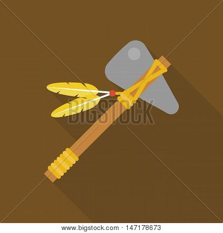 tomahawk native american axe with feather illustration vector icon, flat design