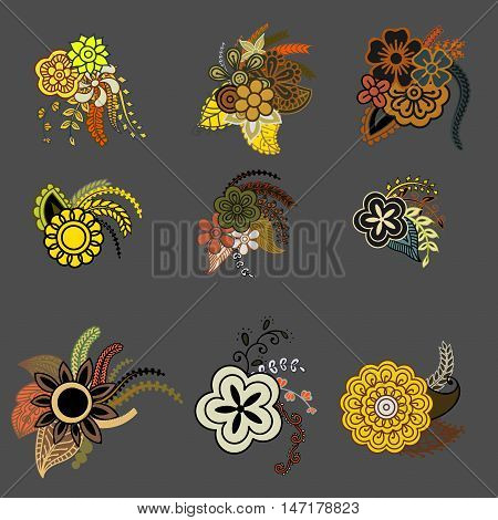 Ethnic floral zentangle, doodle background pattern circle in vector. Henna paisley mehndi doodles design, tribal element.