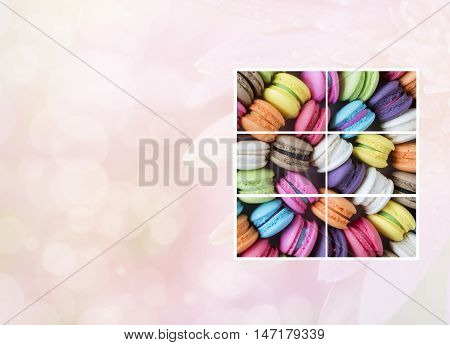 Photo frame of colorful macarons in the box with sweet pink color background