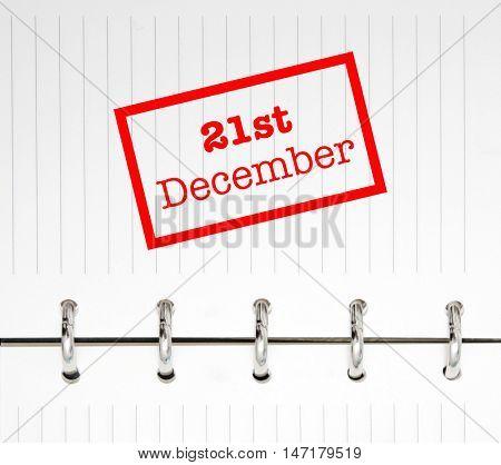 21st December written on an agenda