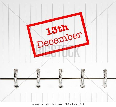 13th December written on an agenda