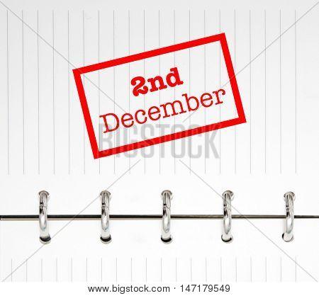 2nd December written on an agenda