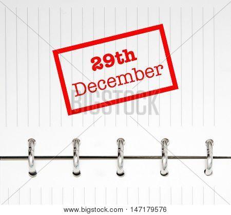 29th December written on an agenda