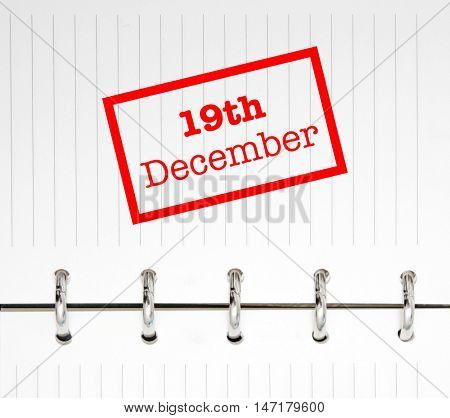 19th December written on an agenda
