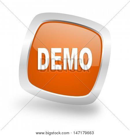 demo square glossy orange chrome silver metallic web icon