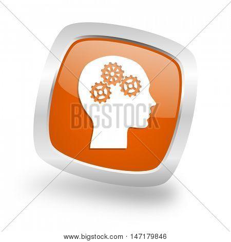 head square glossy orange chrome silver metallic web icon
