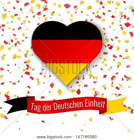 Germany Independence Day background. Greeting card flyer poster for 3th October. Celebration vector template in colors of german flag with confetti. Ribbon with text German Unity Day.