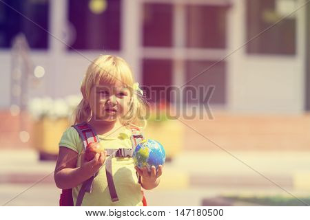 Back to school - cute little girl at preschool or daycare