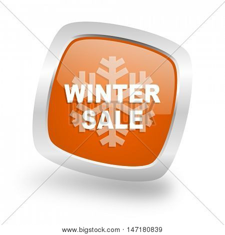 winter sale square glossy orange chrome silver metallic web icon