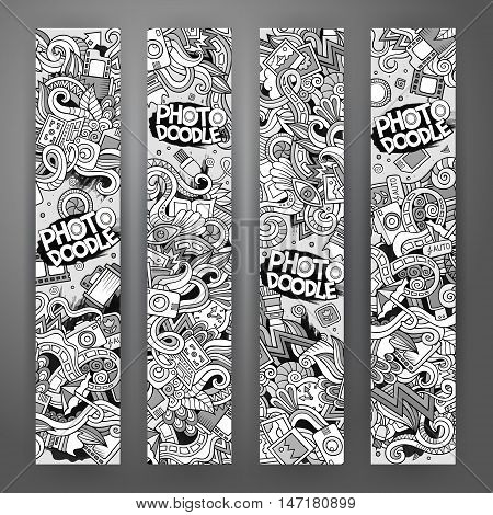 Cartoon vector hand-drawn Doodle on the subject of photo. 4 vertical banners design templates set
