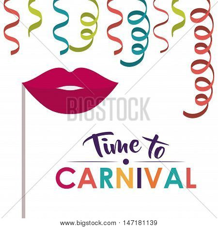 mouth and streamer  icon. Festival and carnival season theme. Colorful design. Vector illustration