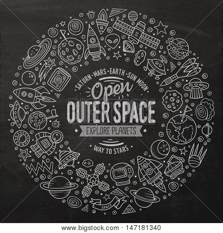 Chalkboard vector hand drawn set of space cartoon doodle objects, symbols and items. Round frame composition