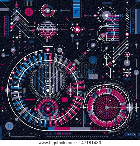 Architectural blueprint vector digital background with different geometric design elements.
