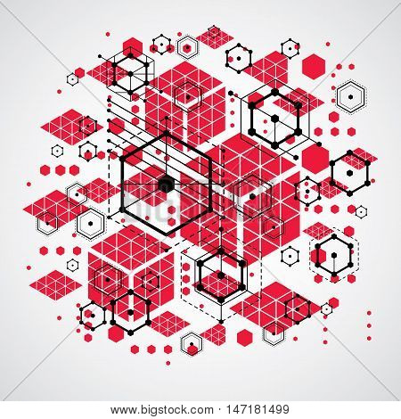 Modular Bauhaus vector background created from simple geometric figures like hexagons circles and lines.