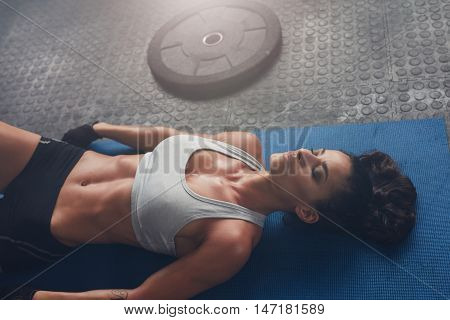 Woman Relaxing After Exercise Session