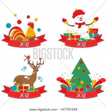 Christmas characters 2017 in vector format eps10