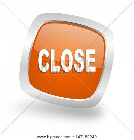 close square glossy orange chrome silver metallic web icon