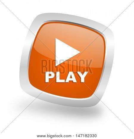 play square glossy orange chrome silver metallic web icon
