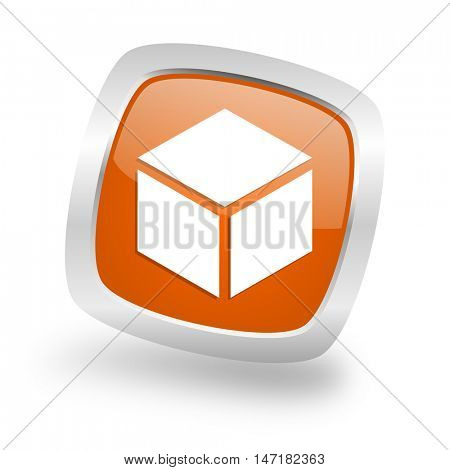 box square glossy orange chrome silver metallic web icon