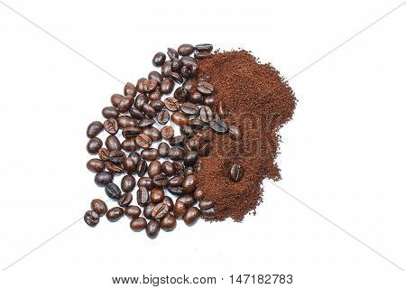 Coffee bean whole and powered on white background