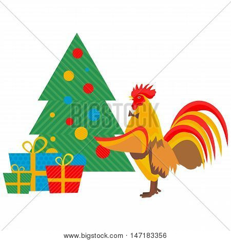 cock decorates Christmas tree in vector format eps10