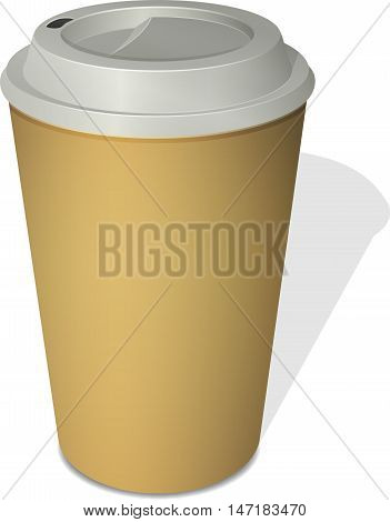 Paper coffee cup with a cap top-down view
