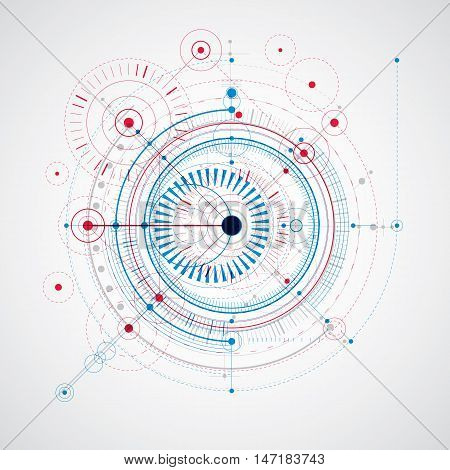 Geometric technology vector drawing technical backdrop in blue and red colors. Abstract scheme of engine or engineering mechanism.