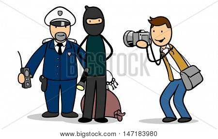 Cartoon reporter taking picture of cop and arrested burglar