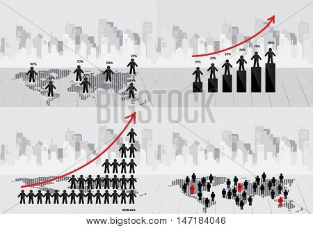 Business concept with businessman, graph and modern building background. Vector illustration.