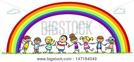 Happy cartoon interracial group of children under rainbow