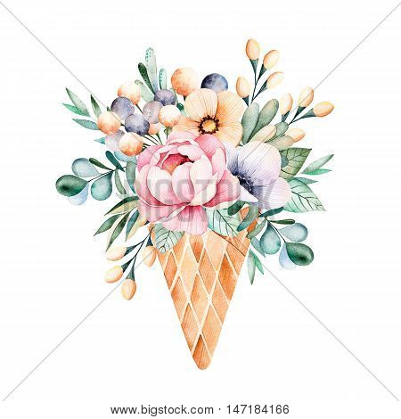 Fresh spring bouquet with roses,leaves,branches,eucalyptus leaves in waffle cone still life.