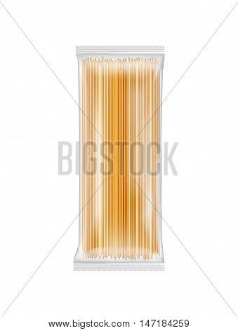 Paper bag for spaghetti macaroni pasta. Vector white soft packing.