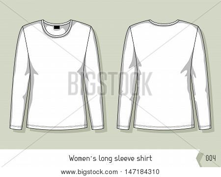 Women long sleeve shirt. Template for design, easily editable by layers.