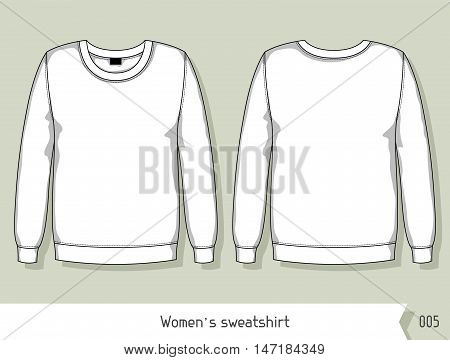 Women sweatshirt. Template for design, easily editable by layers.