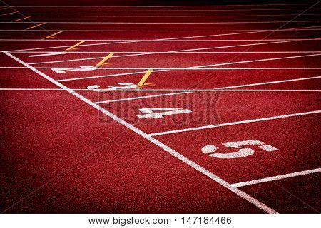 Red running tracks of Track and field stadium