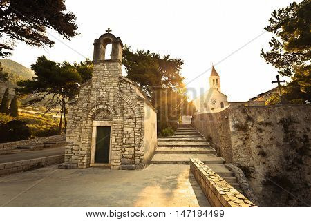 Stone chappel and church in Bol island of Brac Dalmatia Croatia