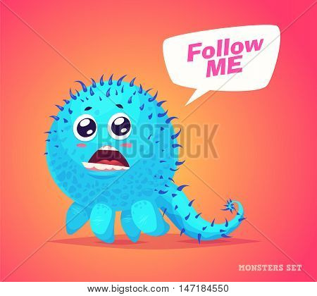 Big collection of cute monsters. Halloween character. Vector illustrations. Good for book illustration, magazine prints or journal article.