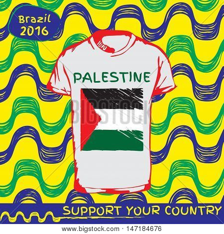 Hand drawn vector. vector pattern with t-shirt with country flag. Support your country. Ipanema, brazil, 2016 pattern. National flag. Palestine