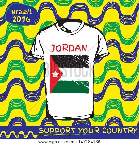 Hand drawn vector. vector pattern with t-shirt with country flag. Support your country. Ipanema, brazil, 2016 pattern. National flag. Jordan